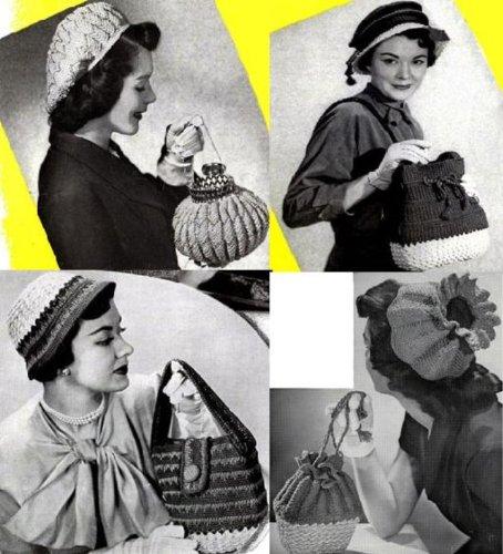 Jahrgang häkeln-Hüte mit passender Geldbörse Muster häkeln -