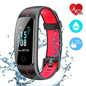 CHEREEKI Bracelet Activity [Enhanced Version], Fitness Tracker IP68 Waterproof Heart Rate Monitor 14 Exercise Modes / Music Control / Stopwatch / Sedentary Reminder / SMS Push