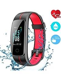 CHEREEKI Pulsera Actividad [Versión Mejorada], Fitness Tracker IP68 Impermeable Monitor de Frecuencia Cardiaca 14 Modos de Ejercicio/Control de Música/Cronómetro/Recordatorio Sedentario/SMS Push