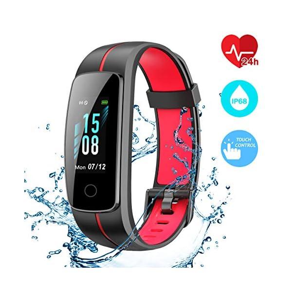 CHEREEKI Pulsera Actividad, Fitness Tracker IP68 Impermeable Monitor de Frecuencia Cardiaca 14 Modos de Ejercicio/Control de Música/Cronómetro/Recordatorio Sedentario/SMS Push 1