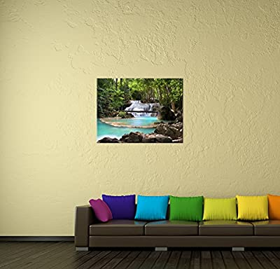 "Bilderdepot24 Wall Art - Canvas Picture ""Waterfall in the forest"" produced by Bilderdepot24 - quick delivery from UK."