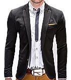 BetterStylz Juan Herren Sakko Jacket Blazer Freizeit Buisiness Jacke Slimfit Größen (S-XXL) (S, Black/Caramel)