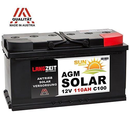 Preisvergleich Produktbild LANGZEIT 12V 110AH AGM Gel Batterie Solarbatterie Wohnmobil Boot Solar Akku 100Ah