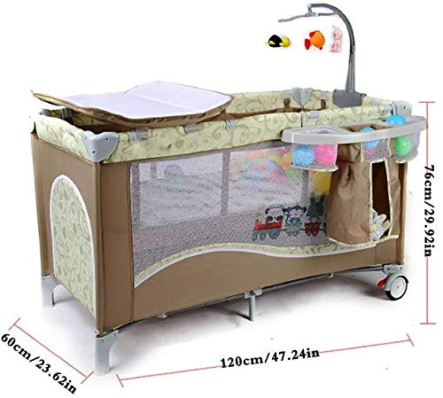 BHDYHM Bedside Sleeper Baby Includes Travel Bag, and Mattress Travel Cot, Correcting The Back Foldable Crib, Safety Padded Cots Unisex BHDYHM * The game bed mode, let the baby play safely, the music rack is equipped, don't worry that the baby will cry, liberate the mothers hands to do housework and create a warm home! * Safe height, don't worry that the baby will fall in the game bed, the baby can play, the mother can eat at ease, and it is their own rest time! *Moms are worried about the safety of the baby, but also take care of the husband's dinner, don't worry, the game bed mode, baby Jiankang happy play, mothers do cooking with heart! 2