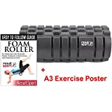 """Foam Roller For Muscle Massage ✓A3 Poster and eBook Included ✓The ORIGINAL Grid Roller Design! - 13""""x5"""" - Ideal for Yoga, Pilates, Myofascial Release, Muscle Pain relief, IT Band, Trigger Point Massage, Stiffness Relief"""