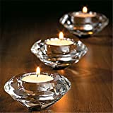 LussoLiv Glass Crystal Candelabra Candle Holders Stand Tealight Candlestick Wedding Home Decor Gift