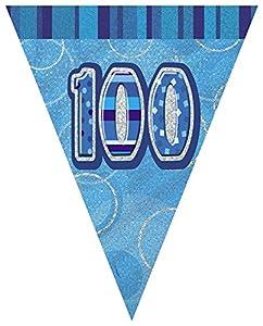 Unique Party Banderines de 100 cumpleaños, Color Azul, Edad (92090)