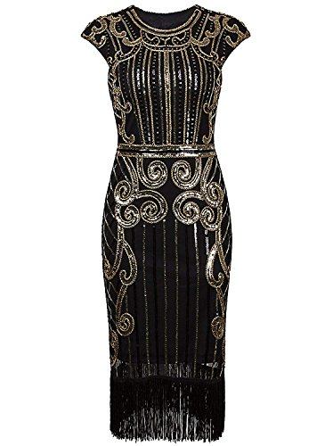 1920er Jahre Vintage inspiriert Pailletten verschönert Fringe Gatsby Flapper Kostüm Kleid (L(EU 40-42), Schwarz Gold)