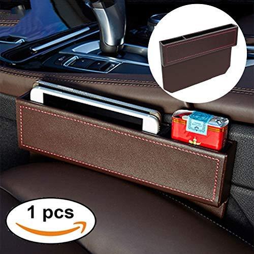 FancyAuto Organizer für Auto Sitz Tasche Schlitz Tasche Aufbewahrungsbox Ablagefach mit PU Leder Kleinteile gutes autozubehör Geeignet für die meisten Autos(Brown)