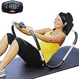 BAKAJI Fitness Attrezzi Allenamento Addominali Crunch Attrezzo Esercizi Palestra Addome da Casa con Display Digitale Calorie Ripetizioni e Tempo