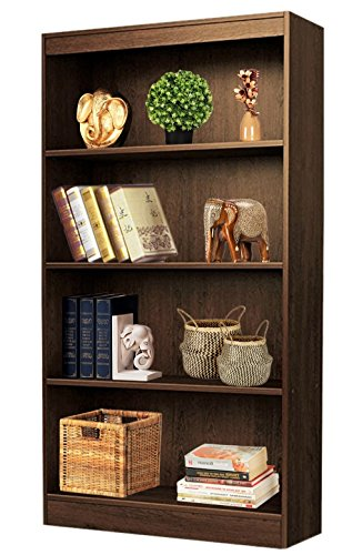 Bluewud Alex Wall Book Shelf / Home Decor Display & Storage Rack Cabinet Unit (Wenge, 4 Shelves, 53.7