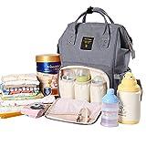 Sunveno Baby Windel Wickeltasche Rucksack Multifunktions GroßE KapazitäT Mama Rucksack mit Isolierten Tasche (Grau)