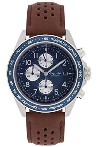 Gigandet Quarz Herren-Armbanduhr Racetrack Chronograph Uhr Datum Analog Lederarmband Braun Blau G24-009