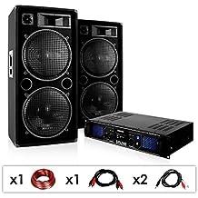 """Sistema de sonido """"DJ-42"""" 3000W Altavoces Amplificador USB SD"""