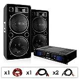 """DJ set """"DJ 42"""" Imapianto PA completo altoparlanti 3000 Watt (2 x Casse 750 Watt RMS, 1 x amplificatore finale, Cavi per collegamento)"""