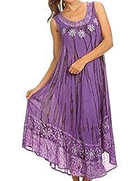 Sakkas caftan long / robe de plage Alexis brodée, sans manches, floral