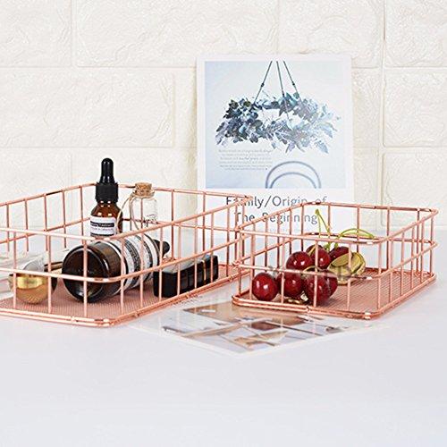 TwinkBling Draht Aufbewahrungskorb Küche Badezimmer-Regal, Make-up-Organizer, für Badezimmer, Pantry, L: 24.5 x 16 x 6.5cm (Pantry-küche-korb)