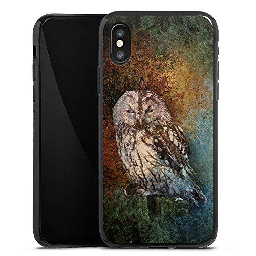Apple iPhone X Silikon Hülle Case Schutzhülle Eule Wald Kauz Silikon Case schwarz