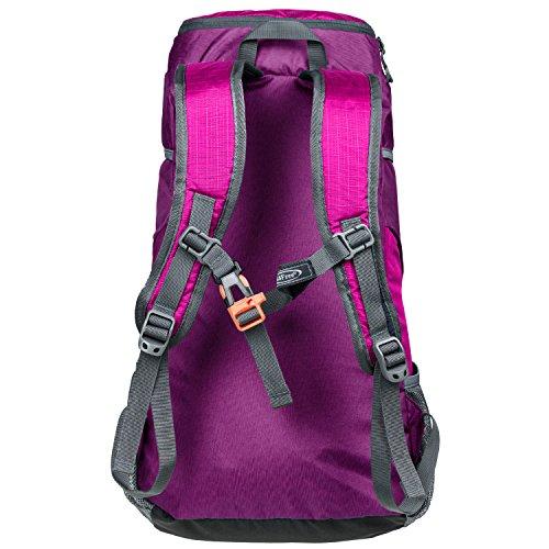 G4Free 40L Wasserdichter Ultraleicht Faltbarer Trekkingrucksack Daypack Damen Herren für Outdoor Wandern Camping Reisen D-Rosa