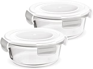 Treo by Milton Store Fresh Round Glass Storage Container Set, 380 ml, Set of 2, Transparent