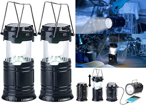 Semptec Urban Survival Technology Solar-Campinglampe: 2er Pack 3in1-Solar-LED-Camping-Laterne, Handlampe & USB-Notlader (Campinglampe Akku)