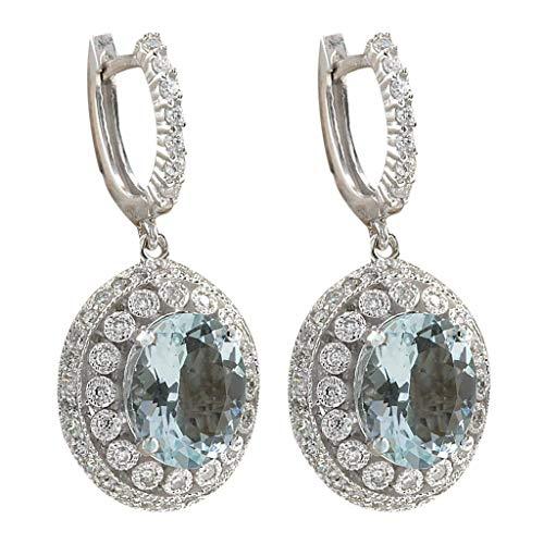 Mypace 925 Silber Gold Set Creolen hängende Ohrringe Für Damen Mode Frauen Aquamarin Edelstein Braut Ohrstecker Hoop Baumeln Ohrring
