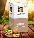 Brotbackmischung Bio Walnuss in the Box, Walnuss-Brot, 1er Box, Dinkel, weizenfrei, vegan, Brot Backmischung zum selber backen im Brotbackautomat oder Backofen (1 x 635 g für 1 kg Brotteig)
