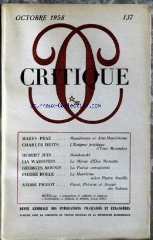 CRITIQUE [No 137] du 01/10/1958 - M. PRA...