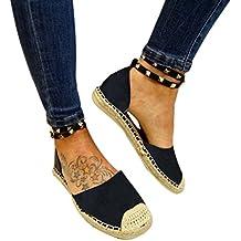 Calzado Chancletas Tacones Sandalias de Vendaje Mujeres Round Flat Zapatos Casuales Zapatos Decorativos Remache ❤️