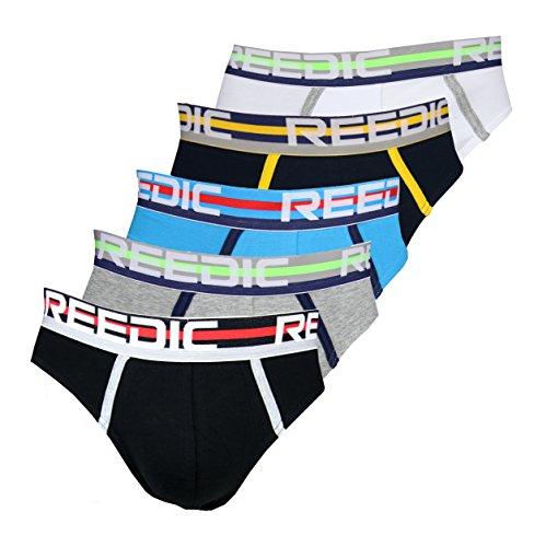 Reedic blickdichter Slip 5er Pack, Größe XX-Large (2XL), Farbe je 1x weiss, dunkelblau, türkis, grau, schwarz 5a Pack