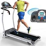 Kinetic Sports KST3000 Laufband klappbar elektrisch Professional, 1100 Watt Leistung, bis 120 kg, 12 Trainingsprogramme, Lautsprecher, bis 12 km/h, 40 cm breite Lauffläche, Steigung verstellbar