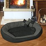 BedDog 4in1 Hundebett SABA / Wende-Hunde-Kissen oval / großes Hundekörbchen / abwischbares Hundebett mit Rand / für drinnen & draußen / XXL / ROCK-FLOW / anthrazit-grau