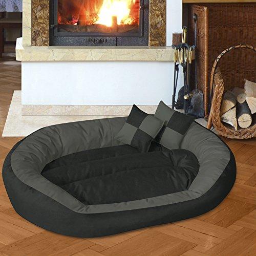 BedDog 4in1 Hundebett SABA / Wende-Hunde-Kissen oval / großes Hundekörbchen / abwischbares Hundebett mit Rand / für drinnen & draußen / XL / ROCK-FLOW / anthrazit-grau