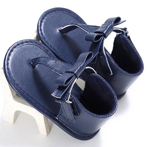 Babyschuhe Longra Baby Kleinkind Mädchen Krippe Schuhe Neugeborenen Blume weiche Sohle Anti-Rutsch Baby Sneakers Sandalen lauflernschuhe krabbelschuh(0-18Monate) Blue