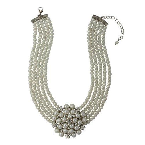 Audrey Hepburn Perlenkette Creme mit Geschenkbox