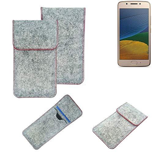 K-S-Trade® Filz Schutz Hülle Für Lenovo Moto G5 Single-SIM Schutzhülle Filztasche Pouch Tasche Case Sleeve Handyhülle Filzhülle Hellgrau Roter Rand