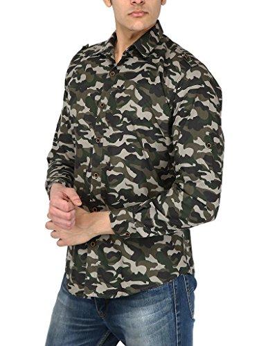 ELEPANTS Men's Cotton Camouflage Print Full Sleeve Shirt (Green, Medium)