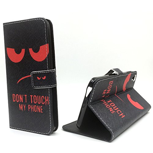 König-Shop Handy-Hülle für Alcatel One Touch Idol 3 5.5 Zoll Klapp-Hülle aus Kunst-Leder | Inklusive Panzer Schutz Glas 9H | Sturzsichere Flip-Case in Rot | Im Dont Touch My Phone Smiley Motiv Rot
