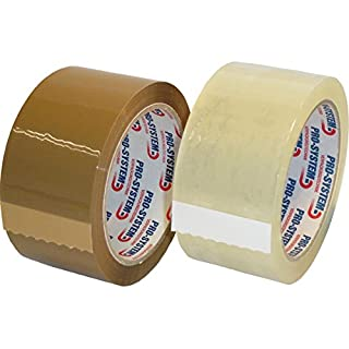 PRO SYSTEM 25001 A SVA Standard 400 Quiet ABRO Catching Buff Parcel Packing Tape 66 m Length, 50 mm Wide, Brown (Pack of 36)