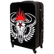 XXL maleta de carcasa rígida de viaje TSA Heavy Metal Falda 100 Litros Negro Blanco Cabeza de toro 817