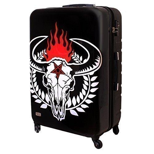 Karry XXL Hartschalen Koffer TSA Heavy Metal Rock 100 Liter Schwarz Weiß Bullhead
