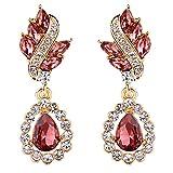 Clearine Mujer Boho Boho Moda Crystal Cluster Floral Lámpara Perforada Pendiente Pendientes De Oro De Tono De La India Rojo