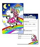 K! Einladungskarten Kindergeburtstag Mädchen und Junge, Motiv Einhorn - Geburtstagseinladungen Kinder - Partyeinladung - Einladung Geburtstag-Feier (9 Stück)