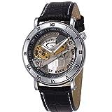 XLORDX SHENHUA Automatikuhr Automatik Armbanduhr Skelett mechanische Uhr Leder Silber Schwarz