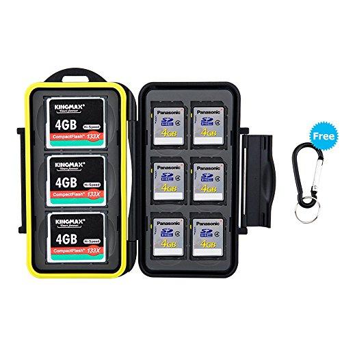 Sd Memory Card Jjc (JJC feste wasserdicht Speicherkarten Schutzhülle für 6 SDHC/ SDXC/ SD Cards und 3 CF Compact Flash Karten mit Karabiner)