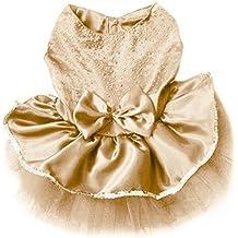 Arco del PET princesa vestido burbuja falda mascota perro ropa traje de encaje (Champagne, S)