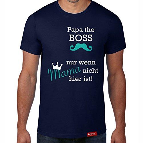 nn Mama nicht hier ist // Original Hariz® T-Shirt - 16 Farben, XS-4XXL // Männer | Geschenk | Geburtstag | Vatertag | Weihnachten #PAPA Collection Navy L (Schwangere Halloween-t-shirts)
