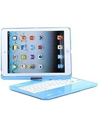 Vanda® -slim Étui rigide pour clavier sans fil Bluetooth 3.0en aluminium Argenté pour iPad Air iPad 5-BLUE