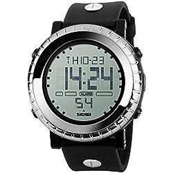 Casual Sport Waterproof Luminous Silicone Strap Calendar Quartz Wrist Watch Multifunction For Men,Silver