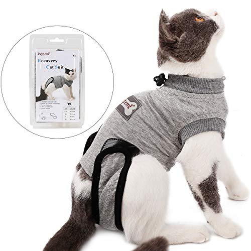 Tineer Pet Recovery Suit for Ablactation Bauchwunden Hautkrankheiten Chirurgie, Katze Sterilisation Pflege Baumwolle Atmungsaktiv Verhindern Lecken Tragen Entwöhnen (S)